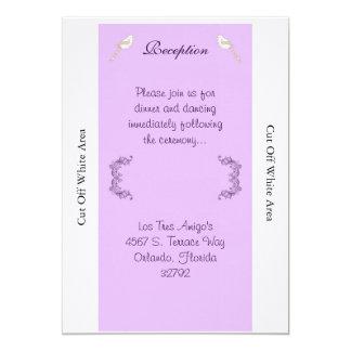 Love Birds Purple/Lavender Wedding Reception Card 13 Cm X 18 Cm Invitation Card