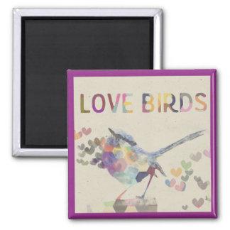 Love Birds Romantic Bird with Hearts Purple Square Magnet