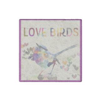Love Birds Romantic Bird with Hearts Purple Stone Magnet