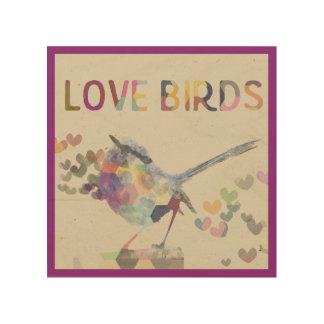 Love Birds Romantic Bird with Hearts Purple Wood Wall Art