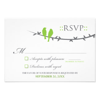 Love Birds RSVP Card (lime green & white) Personalized Invitations