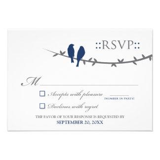 Love Birds RSVP Card navy blue white Custom Invites