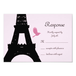 Love Birds RSVP (pink) 9 Cm X 13 Cm Invitation Card