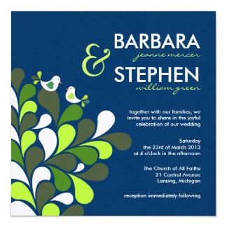 Love Birds Sapphire Blue Linen Wedding Invitations