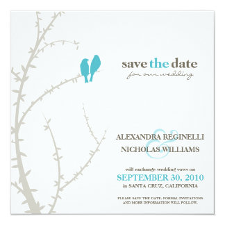 """Love Birds Save the Date Announcement (aqua) 5.25"""" Square Invitation Card"""
