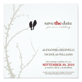 Love Birds Save the Date Announcement (black)