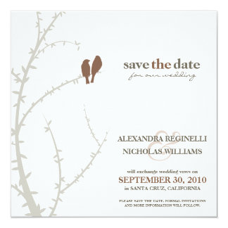 Love Birds Save the Date Announcement (chocolate)