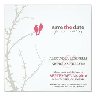 """Love Birds Save the Date Announcement (fuchsia) 5.25"""" Square Invitation Card"""