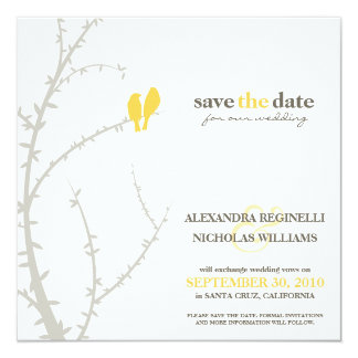 Love Birds Save the Date Announcement (yellow)