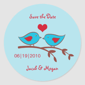 Love Birds Save the Date Label Stickers
