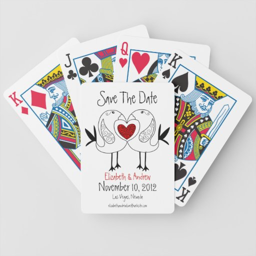 Love Birds Save The Date Playing Cards