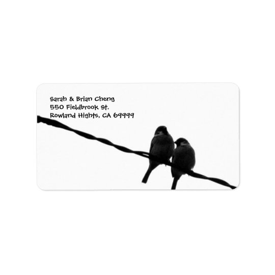 Love Birds Silhouette Wedding Address Lable Label