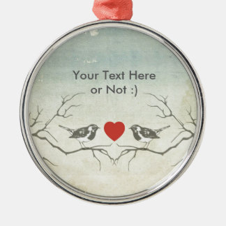 Love Birds Silver-Colored Round Decoration