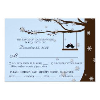 Love Birds Snowflakes Oak Tree RSVP (Meal Options) Card