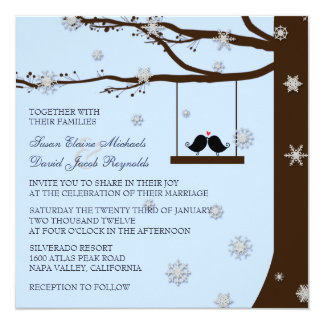 Love Birds Snowflakes Oak Tree Winter Wedding 13 Cm X 13 Cm Square Invitation Card