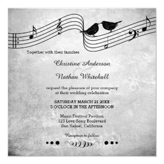 Love Birds Song Music Wedding Invitation