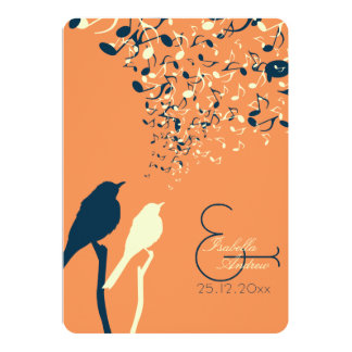 Love Birds Song Wedding Invitation Orange