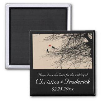 Love Birds, square save the date  magnet
