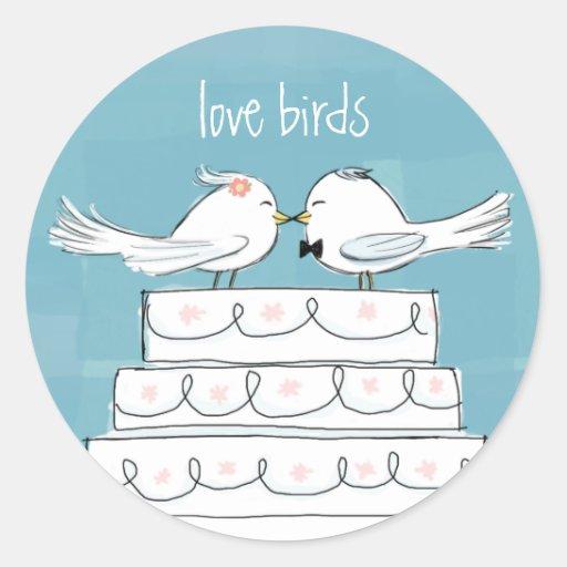 Love Birds Round Sticker
