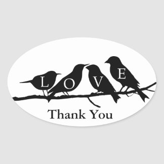 Love Birds Oval Stickers