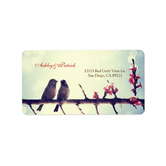 Love birds story address label