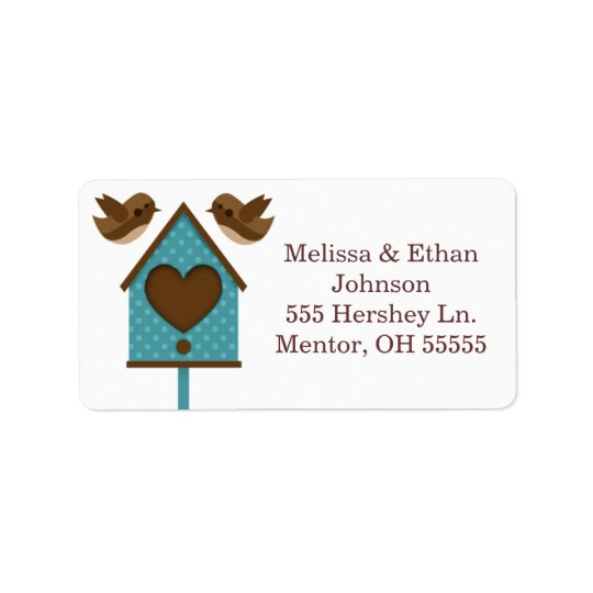Love Birds Teal Bird House Labels