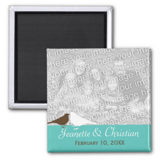 Love birds teal blue custom photo save the date square magnet