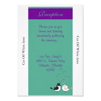 Love Birds Teal/Purple Wedding Reception Card 13 Cm X 18 Cm Invitation Card