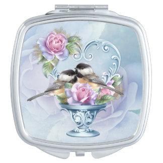 Love Birds Valentine Square Compact Mirror