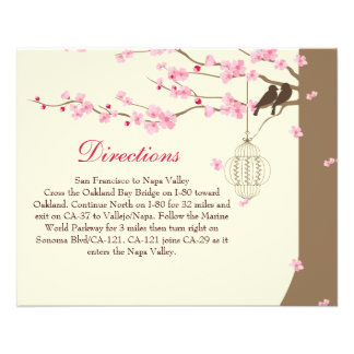 Love Birds Vintage Cage Cherry Blossom Directions 11.5 Cm X 14 Cm Flyer