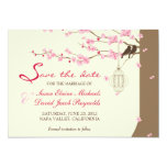 Love Birds Vintage Cage Cherry Blossom Save Date 13 Cm X 18 Cm Invitation Card