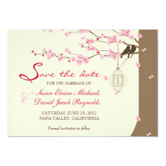 Love Birds Vintage Cage Cherry Blossom Save Date Card