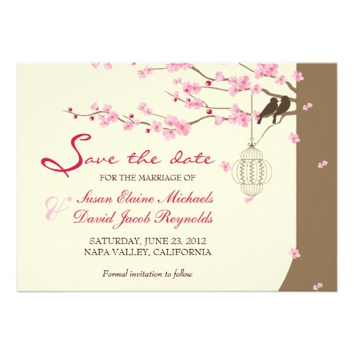 Love Birds Vintage Cage Cherry Blossom Save Date Custom Announcements
