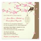 Love Birds Vintage Cage Cherry Blossom Wedding Card