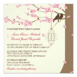 Love Birds Vintage Cage Cherry Blossom Wedding 13 Cm X 13 Cm Square Invitation Card