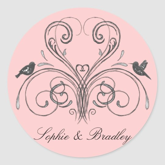 Love Birds Vintage Inspired Wedding Decor Stickers