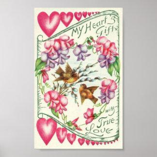 Love Birds Vintage Valentine's Day Poster
