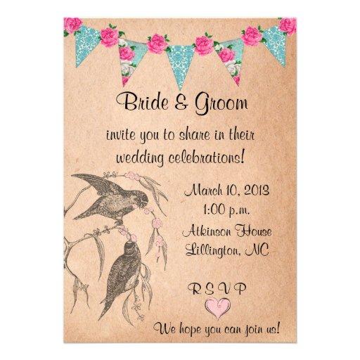Love Birds Vintage Wedding Invitation