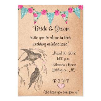 "Love Birds Vintage Wedding Invitation 5"" X 7"" Invitation Card"
