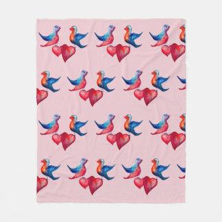 Love Birds Watercolor Art  Fleece Blanket