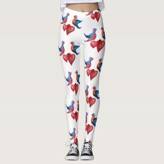 Love Birds, Watercolor Birds Custom Leggings