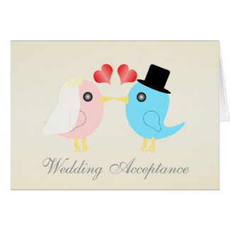Love Birds Wedding Acceptance Card