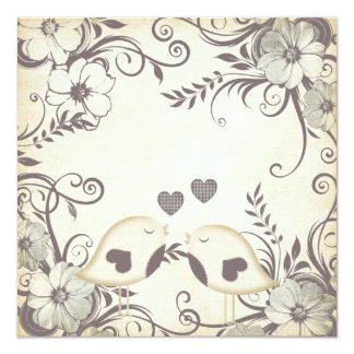 Love Birds Wedding (blank) 13 Cm X 13 Cm Square Invitation Card