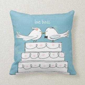 Love Birds Wedding Cake Bride & Groom Kiss Cushion