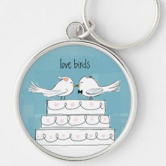 Love Birds Wedding Cake Kiss Key Ring