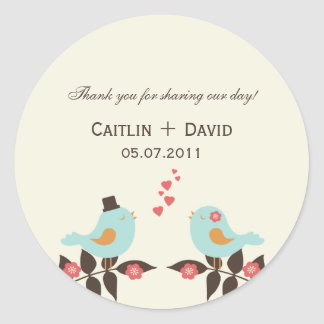Love Birds Wedding Favor Stickers/Envelope Seals