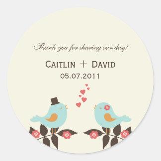 Love Birds Wedding Favor Stickers/Envelope Seals Round Sticker
