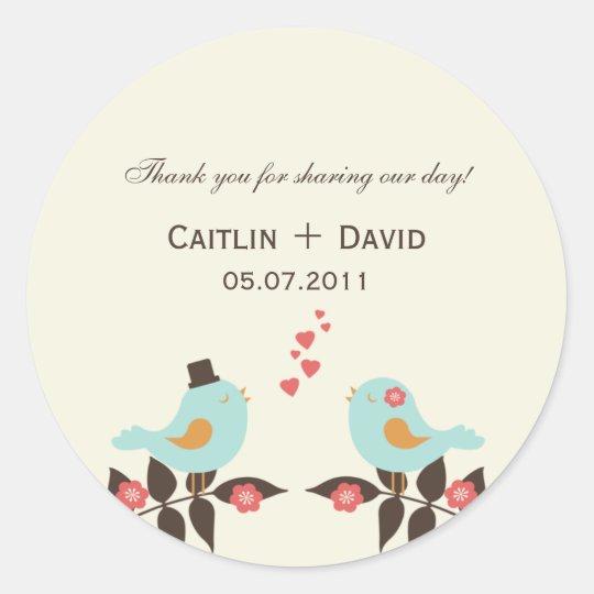 Love Birds Wedding Favour Stickers/Envelope Seals
