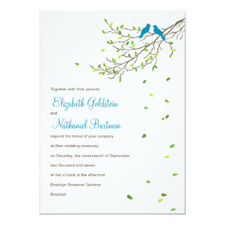 "Love Birds Wedding Invitation Blue & Greens 5"" X 7"" Invitation Card"