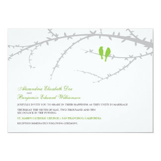 Love Birds Wedding Invitation (green apple)
